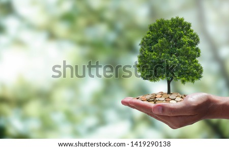 Planting trees on the hands of women and coins on men's hands. Concepts that are not worth exchanging, money and trees, tree planting campaigns. To preserve the world. Investment in business Stockfoto ©