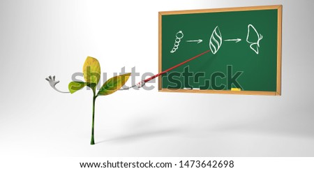 Plants and animals are the best teacher of your Biology lessons. 3D illustration for biological, anatomical, botanical, zoological presentation in school or university