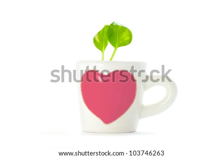 Plants in cup of heart with white background.save green earth.love the tree.