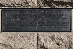 plaque on the Anthony Wayne statue at Valley Forge National Historical Park by Henry K. Bush-Brown