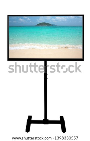 Plasma LCD TV display on a stand isolated on white background #1398330557
