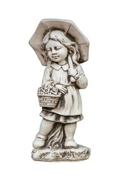 Plaster classic garden figure isolated on white: girl with a basket.