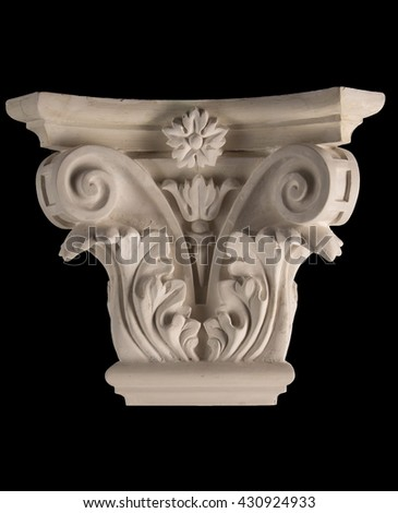 plaster graceful decorations on the columns on a black background #430924933