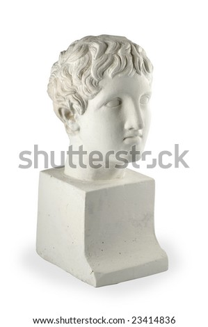 Plaster head of sculpture on white background