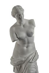 plaster sculpture of Venus on a white background, gypsum