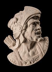 plaster sculpture, Roman head with helmet.