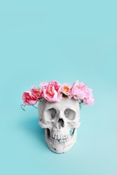 Plaster skull with pink flower crown
