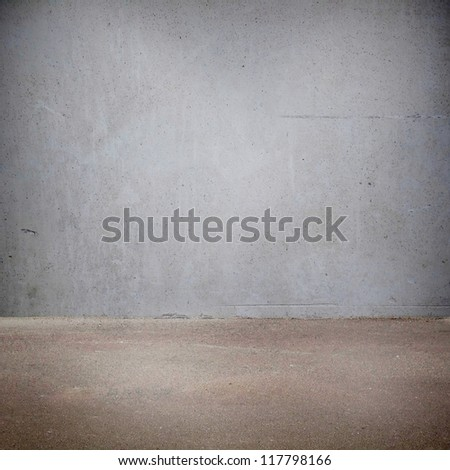 Plaster wall and the floor with light