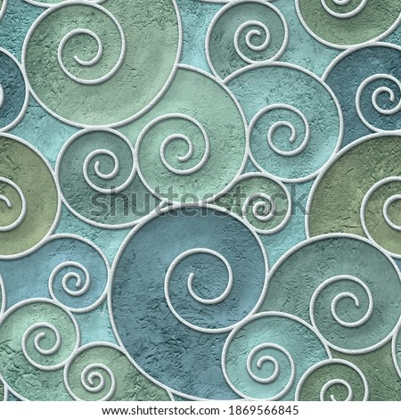 Plaster wall seamless texture with swirls pattern, relief texture, wall stencil, 3d illustration