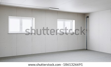 Plasterboard in drywall from the basement with window in a house construction (3D Rendering) Foto stock ©