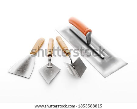 Plasterer's basic tools - stainless steel large trowel, small trowel, corner trowel and scraper on white background Stockfoto ©