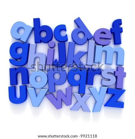 Plastic Alphabet in blue tones on a neutral background