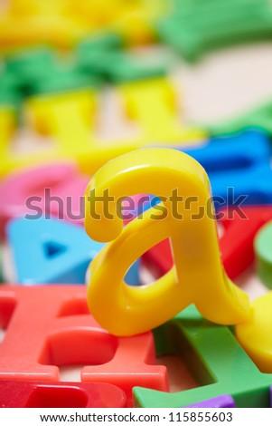 Plastic alphabet letters - stock photo
