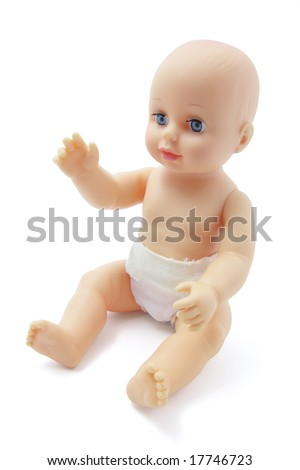 Plastic Baby Doll on Isolated White Background