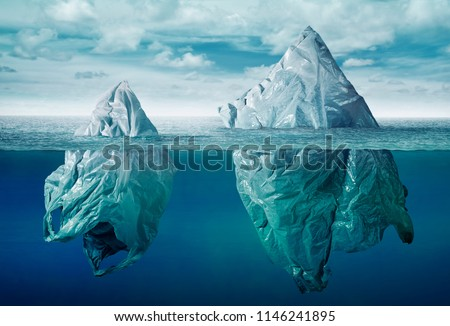 Plastic bag environment pollution with iceberg of trash