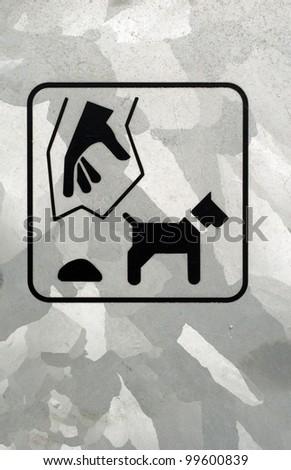 Plastic bag sign for dog poo on