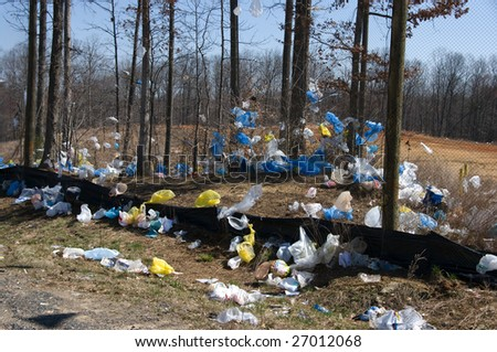 Plastic bags blown by wind from a landfill
