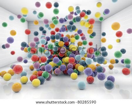 plastic balls in a white room