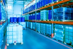 Plastic barrels for chemistry. Storage of chemicals. Plastic barrels. Chemical production. Large plastic barrels.