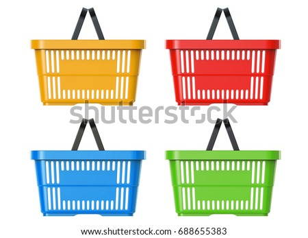 Plastic Basket Set, 3d llustration, 3D render, isolated on white background
