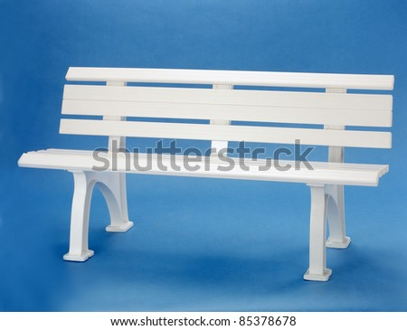 plastic bench blue background