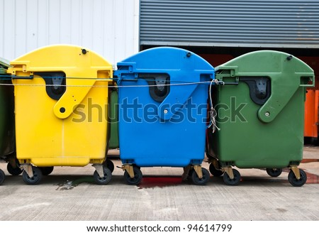 Plastic bins in recycle center