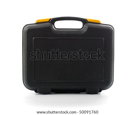 Plastic black case with tools isolated on white