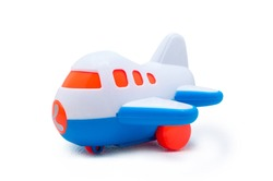 Plastic blue and white toy airplane isolated on white background