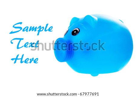 Plastic blue piggy bank isolated on white with room for your text