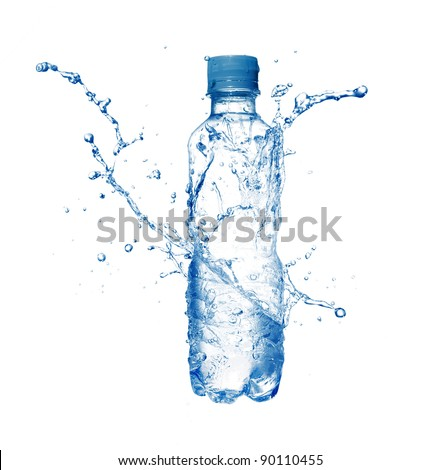Plastic bottle and water splashes and drops isolated on a white background