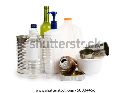 Plastic Bottle, Can, Glass, concept of recycling