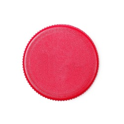 plastic bottle cap for juice isolated on white, top view