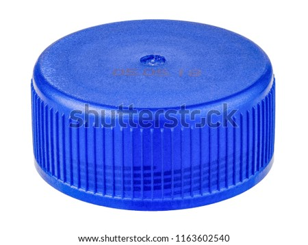plastic bottle cap or crown of drinking beverage, isolated on white background, stack focus added then very high details