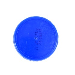 Plastic bottle caps isolated against a white background