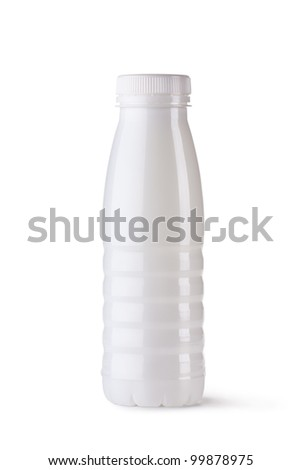 Plastic bottle for dairy foods. Isolated on a white.