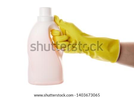 Plastic Bottle Of Liquid Toilet Cleaner Isolated On White