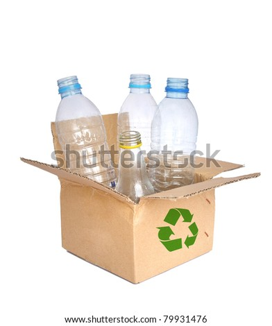 Plastic bottle  in a recycled shipping box.