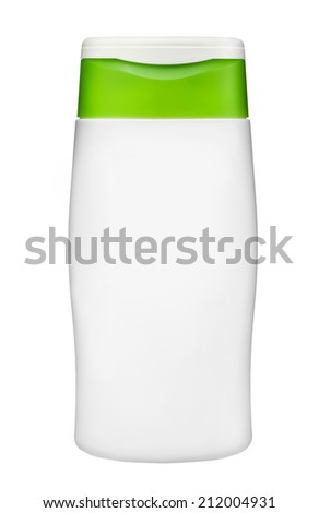 Plastic bottle of body care and beauty products / studio photography of plastic bottle for shampoo - isolated on white background