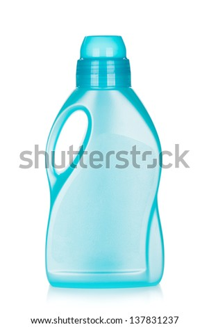 Plastic bottle of cleaning product. Isolated on white background