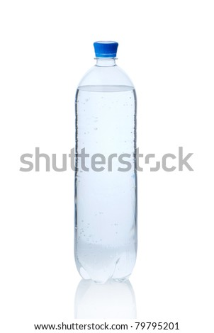 Plastic bottle of mineral water isolated on white