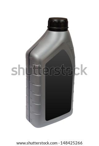 Plastic bottle of motor oil with blank label isolated on for Motor oil plastic bottle manufacturer