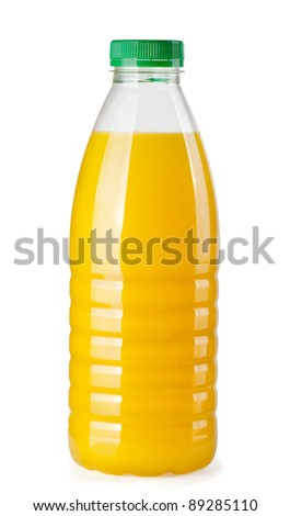 Plastic bottle of orange juice isolated on white