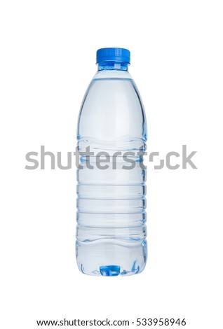 Plastic bottle of still healthy water isolated on white background #533958946
