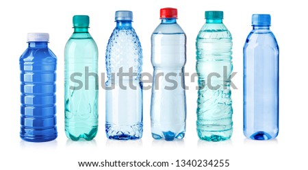 plastic bottle of water isolated on a white background  #1340234255