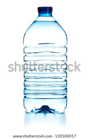 plastic bottle of water on white background - stock photo