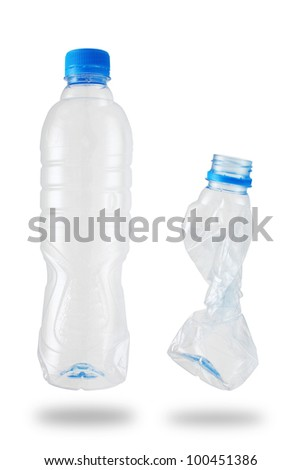 plastic bottle recycled, isolated.