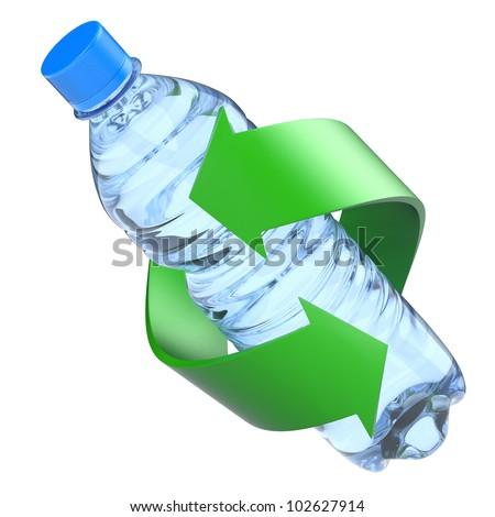 Plastic bottle recycling concept