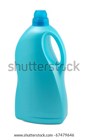 Plastic bottle with cleaner isolated on white background