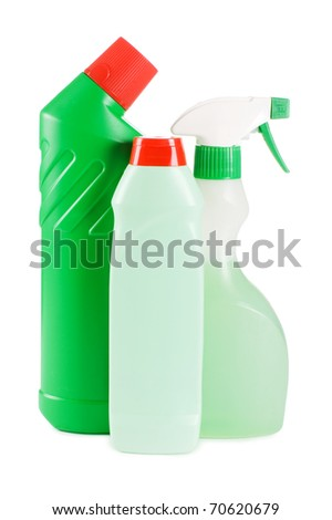 Plastic bottle with detergent  isolated on white