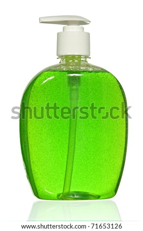 Plastic Bottle with green liquid soap on a white background
